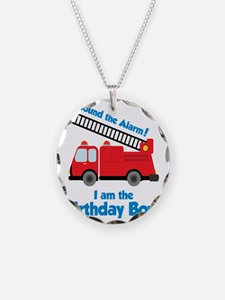 FiretruckBirthdayBoy Necklace Circle Charm