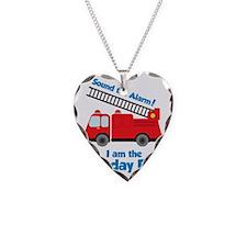 FiretruckBirthdayBoy Necklace Heart Charm