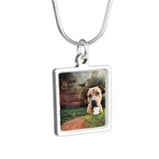 godmadedogs(button) Silver Square Necklace