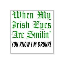"Irish Eyes Smiling Glass Square Sticker 3"" x 3"""