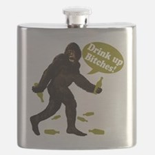 Big Foot Beer Drink Up Bitches Brown Flask