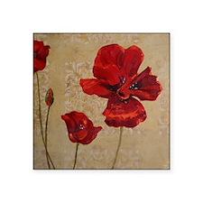 "Poppy Art III Square Sticker 3"" x 3"""