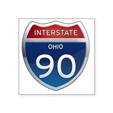 "Interstate 90 - Ohio Square Sticker 3"" x 3"""