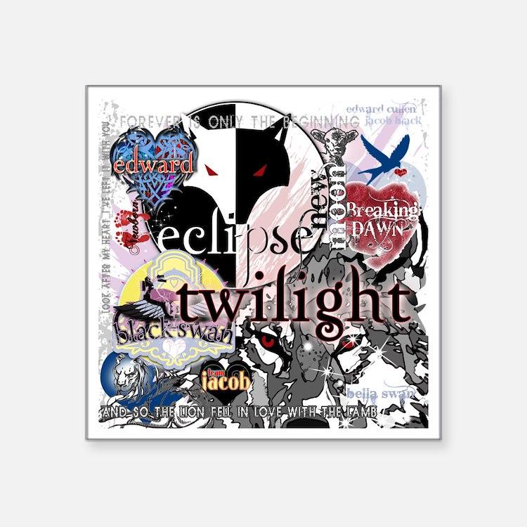 "new twilight saga collage b Square Sticker 3"" x 3"""