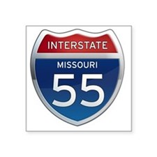 "Interstate 55 - Missouri Square Sticker 3"" x 3"""