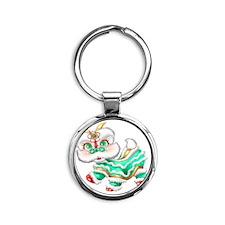 Dragon big green Round Keychain