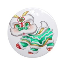 Dragon big green Round Ornament