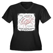 TheCrabShack Women's Plus Size Dark V-Neck T-Shirt