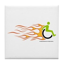 Wheelchair Flames for Him Tile Coaster