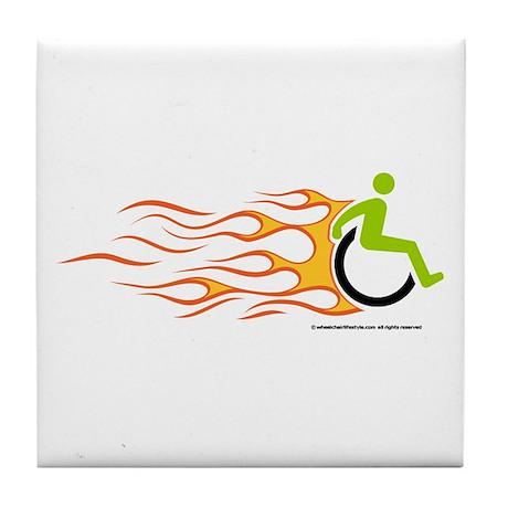 Wheelchair Flames for Him Tile Coaster