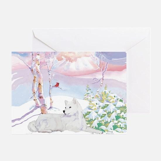 samoyed_winter_scene Greeting Card
