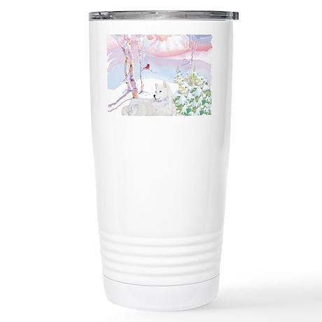samoyed_winter_scene Stainless Steel Travel Mug