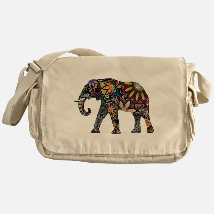 Colorful Elephant Messenger Bag