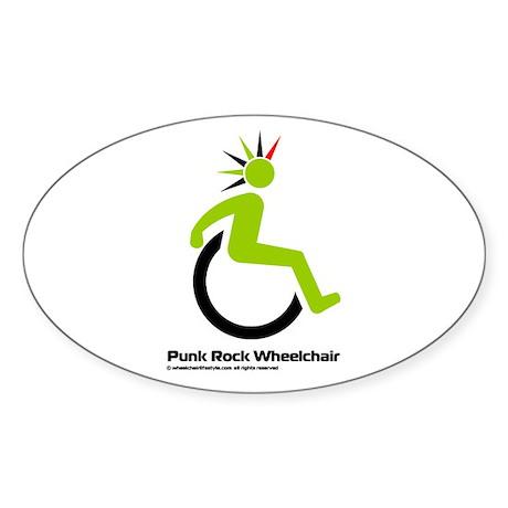 Punk Rock Wheelchair for Him Oval Sticker