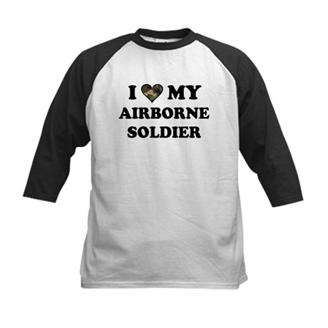 I heart love my Airborne Soldier Kids Baseball Jer