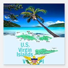 "VIRGIN ISLANDS Square Car Magnet 3"" x 3"""