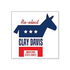 """reelectClayDavis_tshirt_lig Square Sticker 3"""" x 3"""""""