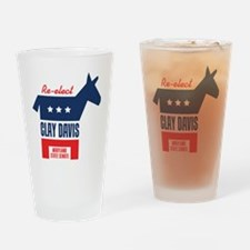 reelectClayDavis_tshirt_light Drinking Glass