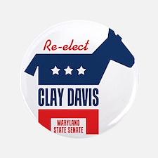 "reelectClayDavis_tshirt_light 3.5"" Button"