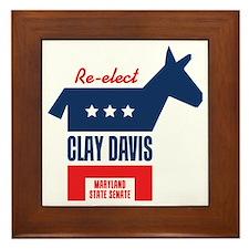 reelectClayDavis_tshirt_light Framed Tile
