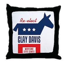 reelectClayDavis_tshirt_light Throw Pillow