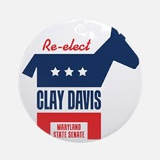 reelectClayDavis_tshirt_light Round Ornament