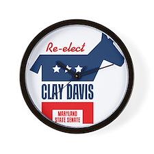 reelectClayDavis_tshirt_light Wall Clock