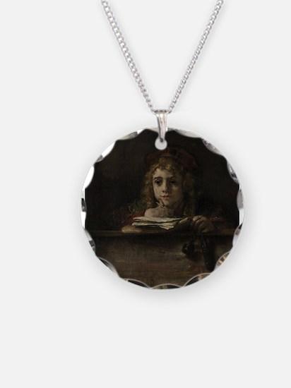Titus at his desk - Rembrandt - c1655 Necklace