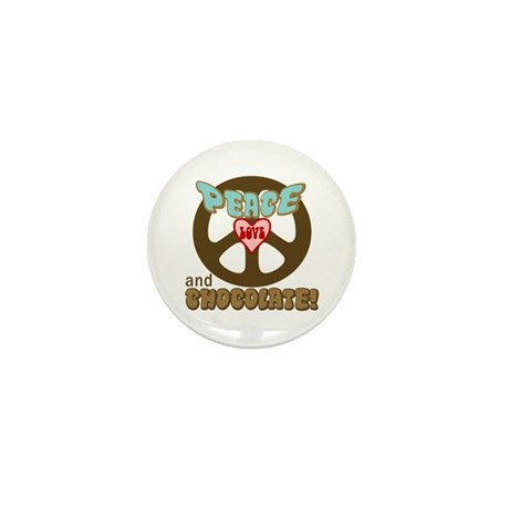 PEACE LOVE AND CHOCOLATE Mini Button (10 pack)