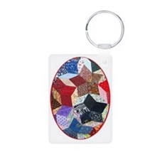 Quilt One ornament_oval Keychains