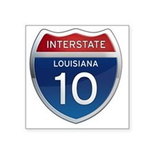 "Interstate 10 - Louisiana Square Sticker 3"" x 3"""