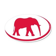 red red elephant rec 1 Oval Car Magnet