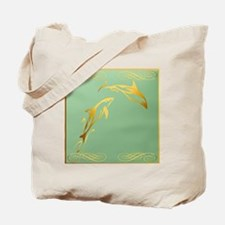 Pillow Two Gold Dolphin Tote Bag