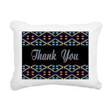 Blue Thank You Dots Rectangular Canvas Pillow