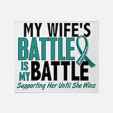 D My Battle Too Wife Ovarian Cancer Throw Blanket