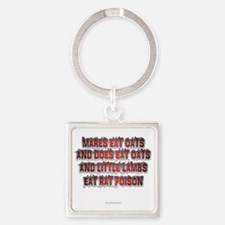 Mares Eat Oats dk Square Keychain