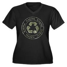 Karma3 Women's Plus Size Dark V-Neck T-Shirt