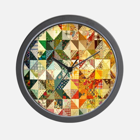 patchwk 11x11_pillow Wall Clock