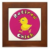 Retired chick Framed Tiles