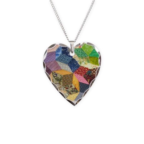Quilt2 11x11_pillow Necklace Heart Charm
