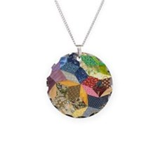 Quilt2 11x11_pillow Necklace Circle Charm