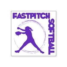 "purple, Fastpitch trio Square Sticker 3"" x 3"""