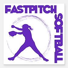 "purple, Fastpitch trio Square Car Magnet 3"" x 3"""