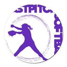 purple, Fastpitch trio Round Car Magnet