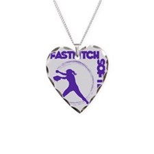 purple, Fastpitch trio Necklace Heart Charm