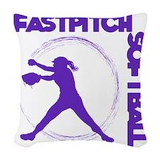 purple, Fastpitch trio Woven Throw Pillow