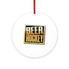 Beer Hockey Round Ornament