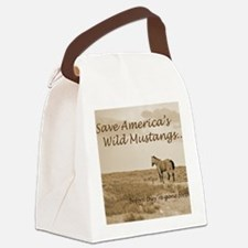 Stallion 3-Sepia Save the Mustang Canvas Lunch Bag