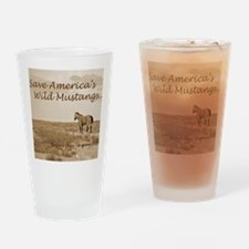 Stallion 3-Sepia Save the Mustangs  Drinking Glass