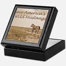 Stallion 3-Sepia Save the Mustangs be Keepsake Box